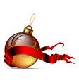 Christmas ball with ribbon vector image vector image