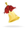 golden bell with red bow vector image vector image