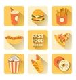 icon set fast food flat design vector image