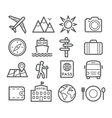 Travel and Tourism Line Icons vector image