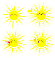 Shining Happy Yellow Sun Pack vector image