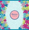 doodle flowers frame vector image