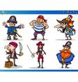 Pirates Cartoon Characters Set vector image