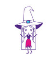witch with hat and straight long hair on color vector image