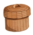 Round wooden basket with a lid vector image