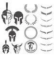 Set of the spartan warriors helmets and design vector image