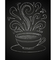 Drawing of a cup of coffee on blackboard vector image