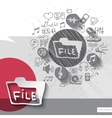 Hand drawn file icons with icons background vector image vector image