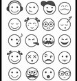 icons set 20 emotional and kids smiles black and vector image vector image