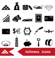 richness and money theme black icons set eps10 vector image