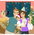 family making selfie on christmas party vector image