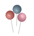 caramel striped candy on stick isolated vector image