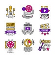 cinema logo design set video symbols in retro vector image