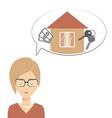 Clever girl thinks about mortgages vector image