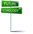 Future-technology direction sign vector image