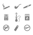 Smoking silhouette icons set 9 elements vector image