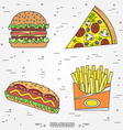 thin line icon pizza fries hot dog and burger For vector image