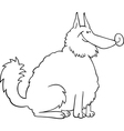 spitz dog cartoon for coloring book vector image
