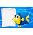 A fish beside an empty bondpaper under the sea vector image vector image