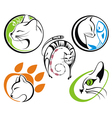 Cat silhouette collections vector image