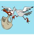Funny cartoon bird stork carries a bag vector image