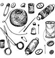 set of ink drawing needlework equipment vector image