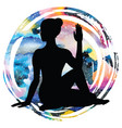 women silhouette half lord of fishes yoga pose vector image