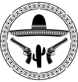 stencil of mexican sombrero and two pistols vector image vector image