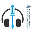 Headphones Tuning Screwdriver Icon With Copter vector image