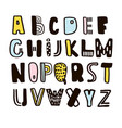 funny childish made with ink alphabet cute vector image