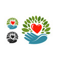 Ecology environmental protection logo or label vector image