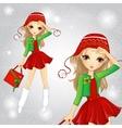 Fashion Blonde Girl Dressed As Santa Holding Bag vector image