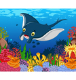 funny stingray cartoon with beauty sea life backgr vector image vector image