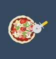 Pizza and pizza knife vector image