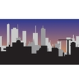 Silhouette of abstract town at sunset vector image