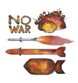 Watercolor nuclear missiles and explosion vector image