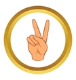 Hand with victory sign icon cartoon style vector image