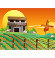 A farm with cows and a scarecrow vector image vector image