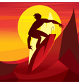 Silhouette of surfer at sunset vector image