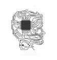 Circuit board head icon Technology design vector image