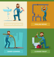 concept pictures set of plumber at work vector image