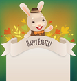 happy easter bunny greeting card vector image