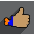 Flat with shadow Icon Zombie hand on a colored vector image