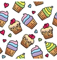 pattern of cupcakes vector image vector image