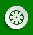 road tire sign  paper whitish icon with vector image