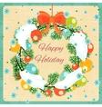 Christmas wreath with Christmas balls and snow vector image