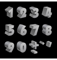 Silver 3d numbers isolated font on black vector image