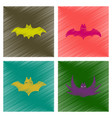 assembly flat shading style icons halloween bat vector image