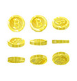 bitcoins gold 3d coin from different angles for vector image