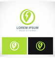 green leaf energy bolt logo vector image